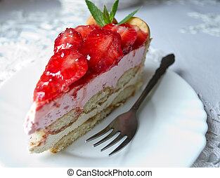 Slice Strawberry Cake - Homemade cake parfait slice with...
