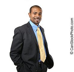 confiante, africano, americano, homem negócios