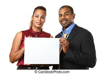Business couple with white sign. - African American couple...