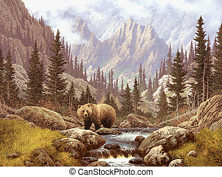 Grizzly Bear In The Rockies - A landscape scene of a grizzly...