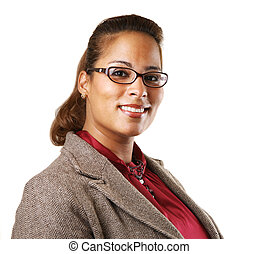 African American businesswoman smiling, looking at camera....