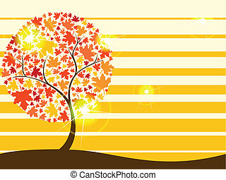 Quirky autumn tree background - Background with autumnal...