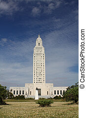 The Louisiana State Capital building and Huey Long statue