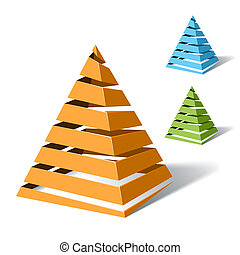 Spiral pyramids - Vector illustration of spiral pyramids