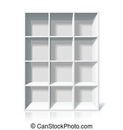 White bookshelf - Vector illustration of a white bookshelf