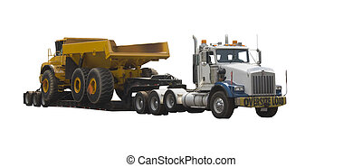 flatbed truck with large dump truck - drop deck flatbed...