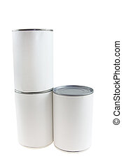 blank food cans stac