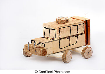Toy car - Handmade toy car from wooden blocks on white...