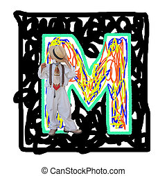 Letter M. - Painted by the letter M with a fashionable boy.