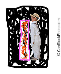 Letter I. - Painted by the letter I with a fashionable boy.