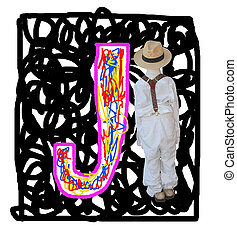 Letter J. - Painted by the letter J with a fashionable boy.
