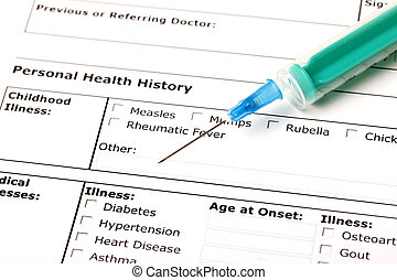 Medical History - A medical history form with a green...