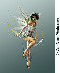 Little Fairy 1 - A charming fairy with wreath and wings