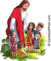 Jesus, com, crianças