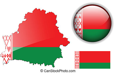 Belarus flag, map and glossy button - Belarus flag, map and...