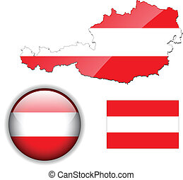 Austria flag, map and glossy button