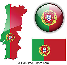 Portugal flag, map and glossy butto - Portugal; Portuguese;...