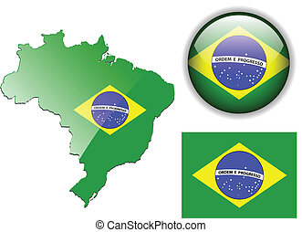 Brazil flag, map and glossy button.