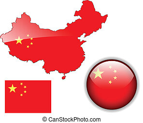 China  flag, map and glossy button