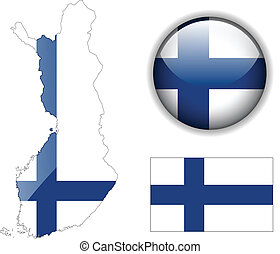 Finland flag, map and glossy button, vector illustration...