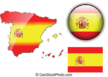 Spain flag, map and glossy button - Spain, Spanish flag, map...