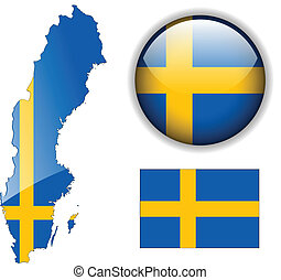 Sweden flag, map and glossy button. - Sweden, Swedish flag,...