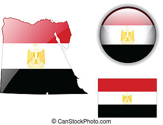 Egypt flag, map and glossy button.