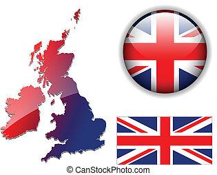England UK flag, map, button vector