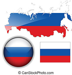 Russia flag, map and button