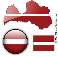 Latvia flag, map and glossy button.