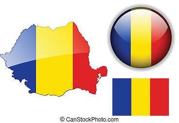 Romania flag, map and glossy button