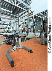 equipment - Gym centre interior. Equipment, gym apparatus.