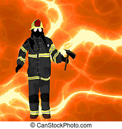 Firefighter background - Firefighter over flames background,...