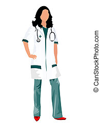 Female doctor - A female doctor or a nurse with a...
