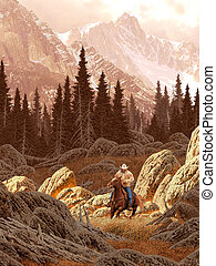 Rocky Mountain Rancher - A landscape scene of a rancher...