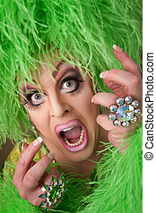 Scared Drag Queen - Scared drag queen with heavy makeup and...