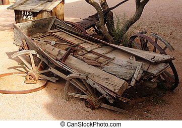 Broken Wagon - Old broken down wagon in a ghost town