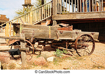 Old wagon - Old wooden wagon in a ghost town