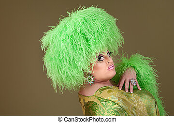 Large Drag Queen - Green drag queen in matching boa hat and...