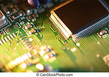 Processor chip on circuit board. Macro close-up, shallow...