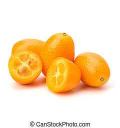 Cumquat or kumquat isolated on white background close up