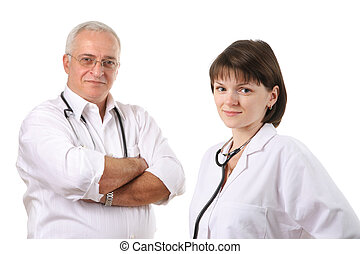 Smiling doctors team isolated over white background