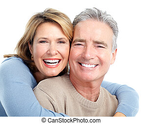 Couple - Senior smiling couple in love Over white background...