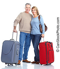 Senior passengers. - Senior people tourists . Isolated over...