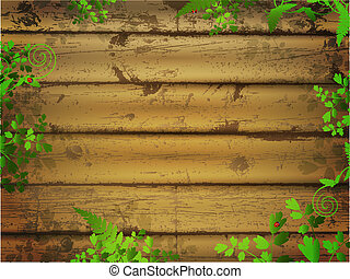 wooden background with green leaves and ladybugs