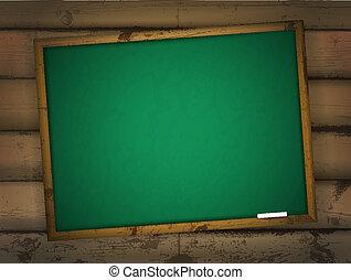 school blackboard at wooden wall
