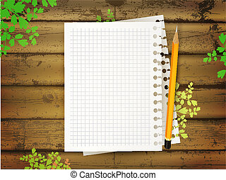 education theme with paper sheets, pencil green leaves at...