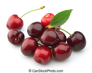 sweet cherry with a leaf on a white background