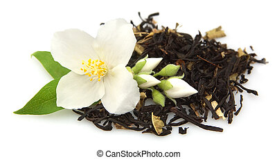 jasmine tea with fresh jasmine flowers