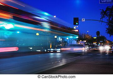 Speeding bus, blurred motion Santa Monica Blvd, West...